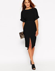 Asos Wiggle Dress With Split Front Black