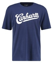 Carhartt Wip Vintage Loose Fit Print Tshirt Blue White Dark Blue