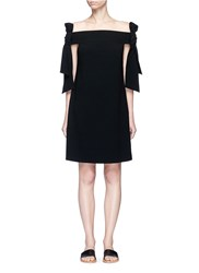 Tibi Half Bow Tie Off Shoulder Crepe Dress Black