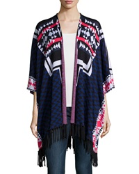 Ella Moss Tribal Print Open Front Jacket Midnight