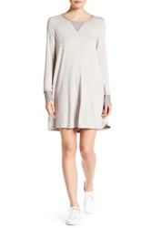 Bobeau Long Sleeve French Terry Knit Sweater Dress Gray