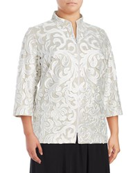 Alex Evenings Plus Textured Lace And Mesh Jacket White