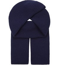 Johnstons Ribbed Cashmere Scarf British Blue