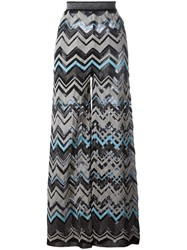 M Missoni Zig Zag Wide Leg Trousers Blue