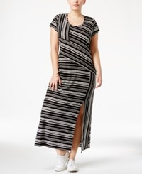 Ny Collection Plus Size Striped Maxi Dress Black