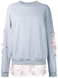Anouki Lace Inserts Sweatshirt Women Cotton Polyester 36 Grey