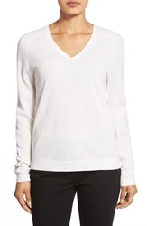 Women's Nordstrom Collection Double V Neck Cashmere Sweater Ivory Soft