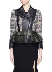 Alexander Mcqueen Peplum Hem Cropped Tweed Leather Jacket Multi Colour