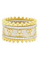 Freida Rothman Fleur Bloom 5 Stack Ring Silver And Gold