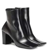Balenciaga Double Square Leather Ankle Boots Black