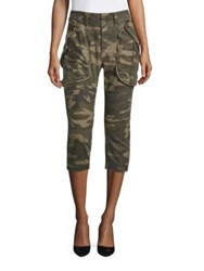 Faith Connexion Camouflage Cropped Cargo Pants Army Khaki