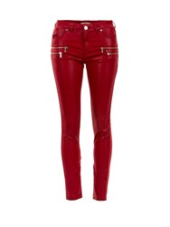 Morgan Coated Biker Slim Jeans Red