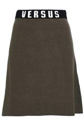 Versus By Versace Intarsia Trimmed Stretch Knit Mini Skirt Army Green