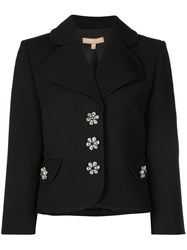 Michael Kors Bejewelled Button Fitted Jacket Black