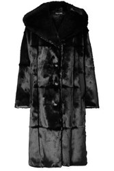 Tom Ford Oversized Hooded Leather Trimmed Faux Fur Coat Black