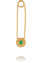 Ileana Makri Safety Pin 10 Karat Gold Tsavorite Earring