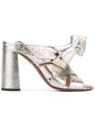 Chloe Nellie Mule Sandals Women Calf Leather Leather 40 Metallic