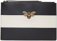 Gucci Black And White Jewelled Bee Pouch