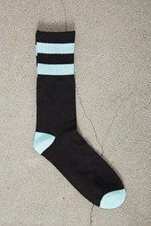 Forever 21 Men Varsity Stripe Crew Socks Black Teal