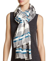 Aqua Geo Houndstooth Scarf 100 Exclusive Light Gray Multi