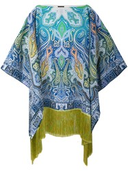 Etro Paisley Print Fringed Kaftan Women Silk Viscose One Size Blue