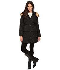 Jessica Simpson Cinched Waist Puffer W Hood And Removable Faux Fur Black Women's Coat