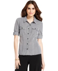 Ny Collection Petite Top Short Sleeve Striped Shirt Tortella
