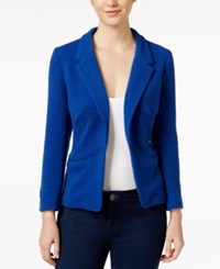Kensie Long Sleeve Ribbed Blazer Midnight Sapphire
