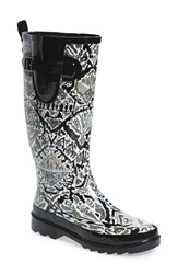 Sakroots Women's 'Rhythm' Waterproof Rain Boot Jet Brave Beauty