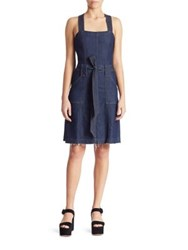 7 For All Mankind Belted A Line Denim Dress Luxe Lounge Deep