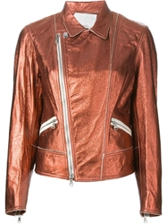 3.1 Phillip Lim Metallic Sheen Biker Jacket Yellow And Orange