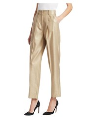 Emporio Armani High Rise Cropped Pants With Pleats Gold