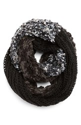 Women's Renee's Accessories Nubby Mixed Media Infinity Scarf Black Black Grey Charcoal White