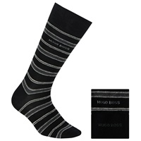 Boss Logo Boss Stripe And Plain Cotton Blend Socks Pack Of 2 Grey Black