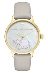 Kate Spade Women's New York 'Metro' Elephant Leather Strap Watch 34Mm