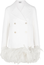 Valentino Feather Trimmed Wool Blend Coat