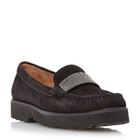 Episode Gaynor Diamante Saddle Trim Loafers Black
