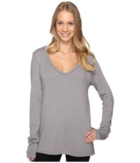 Hard Tail Slouchy V Neck Pullover Nickel Women's Sweater Beige