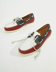 Polo Ralph Lauren Merton Leather Boat Shoes In Red White Navy Red White Navy