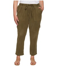 Lucky Brand Plus Size Solid Cargo Pants Dark Olive Women's Casual Pants