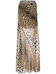 Saint Laurent Leopard Printed Maxi Skirt Silk Brown