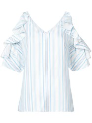 Christian Siriano Striped Ruffle Sleeved Shirt Blue