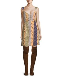 Vero Moda Patchwork Mini Dress Yellow Multi