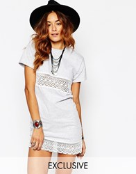 Milk It Vintage Festival T Shirt Dress With Lace Inserts And Roll Sleeves Gray