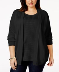 Alfred Dunner Plus Size Open Front Layered Look Sweater