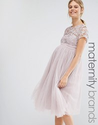 Little Mistress Maternity Short Sleeve Lace Bodice Mini Dress With Tulle Skirt Blush Pink