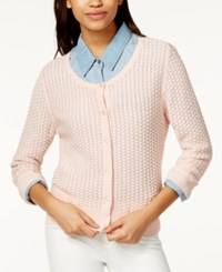 Maison Jules Three Quarter Sleeve Honeycomb Stitch Cardigan Only At Macy's