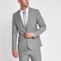 River Island Grey Check Skinny Fit Suit Jacket