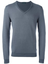 Zanone V Neck Jumper Grey