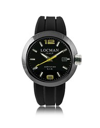 Locman One Black Pvd Stainless Steel Chronograph Men's Watch W Leather And Silicone Band Set